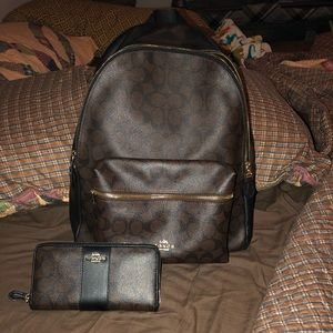 Charlie Coach Backpack (big) & wallet.